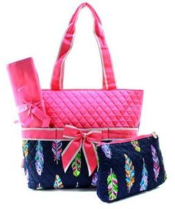 Quilted Feather 3pc Diaper Bag Set
