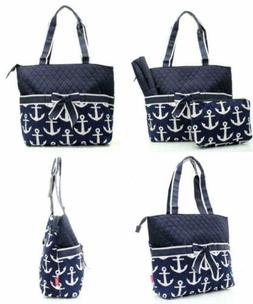 Quilted Navy And White Nautical Anchor Theme Print Monogramm