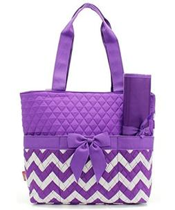 Quilted Purple And White Chevron Print Monogrammable 3 Piece