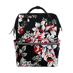ALAZA Red Floral Pattern Diaper Bags Mummy Backpack Multi Fu