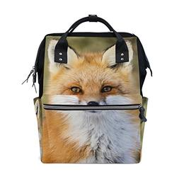 ALAZA Red Fox Vulpes Diaper Bags Mummy Backpack Multi Functi