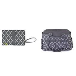 JJ Cole Satchel Diaper Bag with Changing Clutch, Stone Arbor