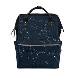 ALIREA Sky Map And Constellations Diaper Bag Backpack, Large