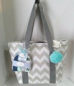 Small Insulated Diaper Bag Tote + Washcloths + Accessory  Wh