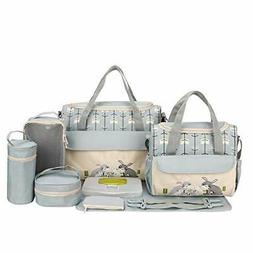 SoHo Animals Diaper Tote Bag 10Pc, Rabbits Gray