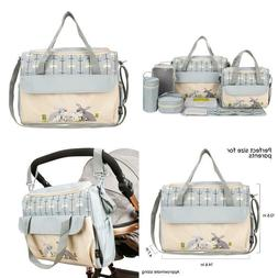 Soho Diaper Bag Gray Rabbits 10 Pcs Nappy Tote Stylish Bag F