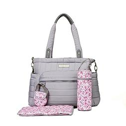 Laura Ashley Solid Gray Quilted 5 1 Diaper Bag