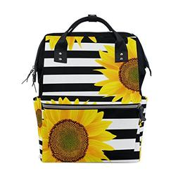 ALAZA Sunflowers On Zigzag Stripes Diaper Bags Mummy Backpac