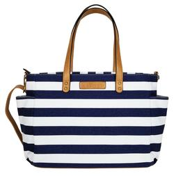 The Aquila Tote Bag by White Elm | Navy Blue Stripe | Diaper