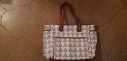 The Libra Tote Bag by White Elm | Triangle Pattern | Diaper