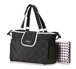 Tonal Dot Tote Diaper Bag in Black / Pink