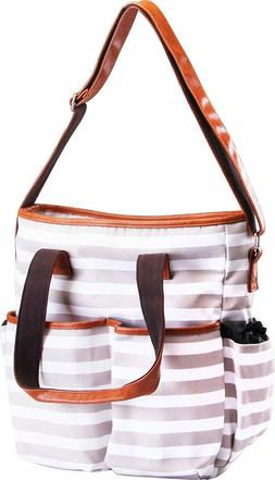 Trendy Stripe Diaper Bag  Secure Zippers Baby Tote Bag Utopi