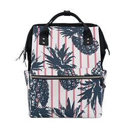 ALAZA Tropical Pineapple Pink Stripes Diaper Bags Mummy Back