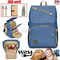 US Baby Diaper Bag USB Mummy Backpack Waterproof Maternity N