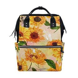 ALAZA Vibrant Yellow Sunflowers Diaper Bags Mummy Backpack M