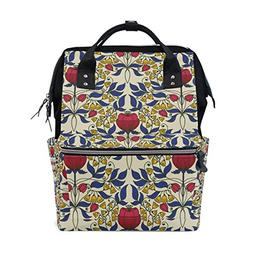 ALAZA Vintage Roses Diaper Bags Mummy Backpack Multi Functio