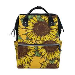 ALAZA Vintage Sunflower Diaper Bags Mummy Backpack Multi Fun