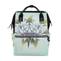 ALAZA White Flower Diaper Bags Mummy Backpack Multi Function