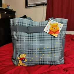 Winnie The Pooh Disney 2 Tined Gray Pvc Diaper Bag Embroider