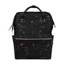 ALAZA XII Constellations of Zodiac Diaper Bags Mummy Backpac