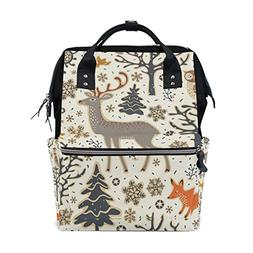 ALAZA Xmas Owl Deer Diaper Bags Mummy Backpack Multi Functio