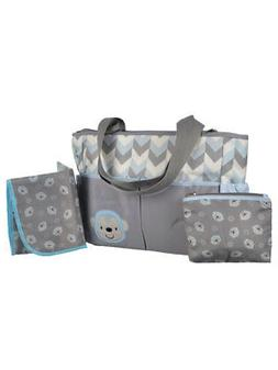 "Tender Kisses ""Zigzag Monkey"" Diaper Tote with Dirty Duds Po"